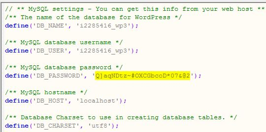 Location of database password