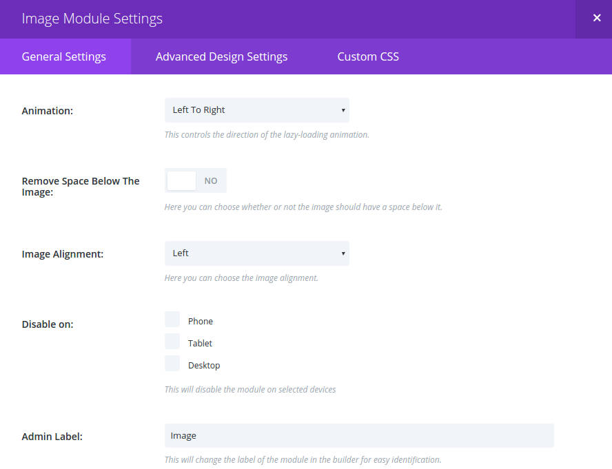 Image Module Settings Part Two
