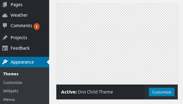 WordPress Child In Dashboard