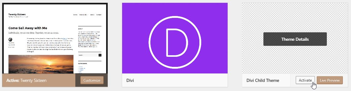 Activating Divi Child Theme